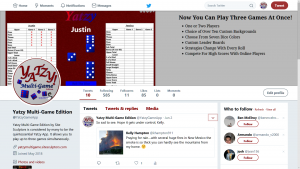 Yatzy Multi-Game Twitter Page